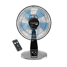 "Rowenta VU2660U2 Turbo Silence Extreme 4 Speed Oscillating Desk Fan, 12"", Bronze, Gray"