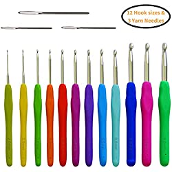 Crochet Hooks Set 12 Ergonomic Sizes & Yarn Needles - Soft Grip & Comfortable Perfect for Arthritic Hands or Any Hand Pain - Sturdy, Smooth & Extra Long Hook Great for Any Type of Yarns - 2 mm ~ 8 mm