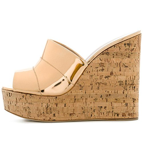 Amy Q Women's Metallic Gold Peep Toe Cork Wedge Mules Platform Slides High Heel Sandals, Size 46