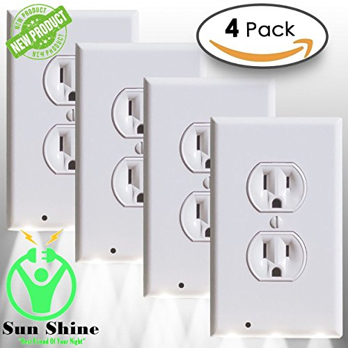 4 Pack Outlet wall plate with Led night light – Guidelight - Outlet Wall Cover Plate Receptacle With Energy Efficient LED Lights - Built in sensor - No wire - White, 4 pack duplex