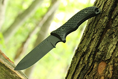 Schrade SCHF36 Frontier 10.4in High Carbon Steel Full Tang Fixed Blade Knife with 5in Drop Point and TPE Handle for Outdoor Survival, Camping and Bushcraft