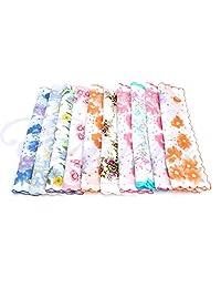 SimpleLife 10Pieces Cutter Ladies Womens Vintage Cotton Hanky Hankie Floral Handkerchief