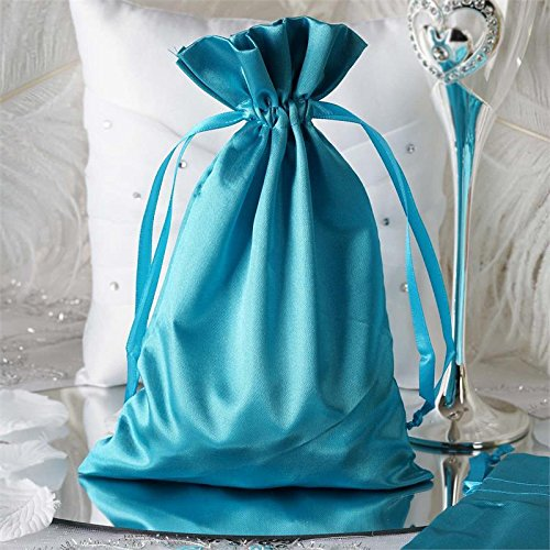 BalsaCircle 60 pcs 6x9-Inch Turquoise Satin Drawstring Bags - Wedding Party Favors Jewelry Pouch Candy Gift Bags