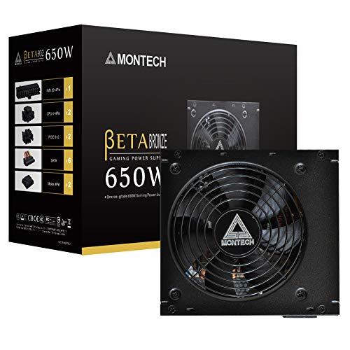 Montech BETA Power Supply 650W 80+ Bronze Certified PSU, Japanese Capacitors, 120mm Silent Fan, Continuous Power