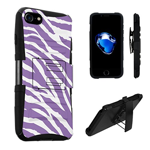 iPhone 7 Case, DuroCase Hybrid Dual Layer Combat Armor Style Kickstand Case w/ Holster for Apple iPhone 7 (Released in 2016) - (Zebra Purple)