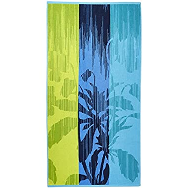 Arus Jacquard Woven Turkish Terry Cotton Beach Towel, Tropical, Green, 28x55