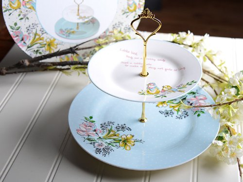 Bird Song Shabby Chic 2 Tier Cake Stand