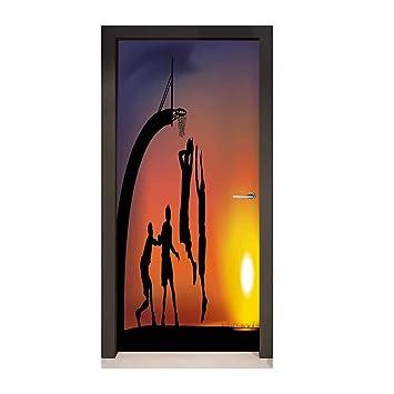 Pegatina decorativa para puerta con diseño de jugador de béisbol y ...