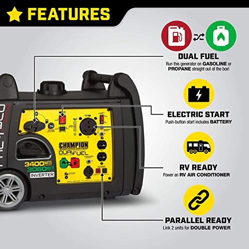 Features and control panel of Champion 3400-Watt Dual Fuel RV Ready Portable Inverter Generator