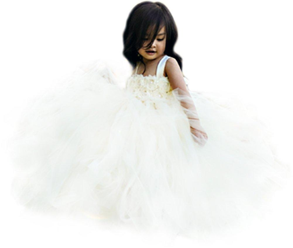 MALIBULICo Fluffy Flower Girl Tutu Dress with Matching Headband for Wedding and Birthday Party