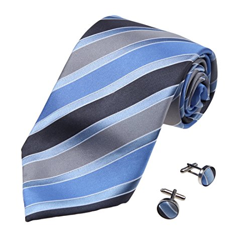 Blue Stripes Woven Silk Tie - 1