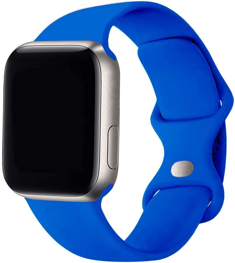SexHope Silicone Replacement Bands Compatible with Apple Watch 38mm 40mm 42mm 44mm SE, Series 6/5/ 4/3/2/1 (Royal Blue, 38mm/40mm S/M)
