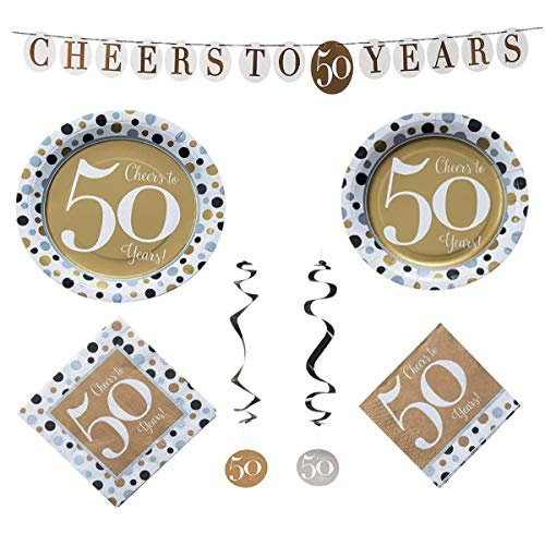 Fun Express Cheers to 50 Years Bundle | Luncheon & Beverage Napkins, Dinner & Dessert Plates, Hanging Swirls, Garland Set | Great for Party Decor, 50th Birthday, Wedding or Company Anniversary