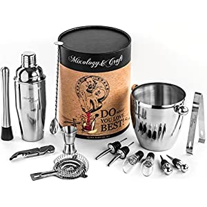 Mixology 15-Piece Cocktail Mixing Bar Set–Bartender Kit: Includes Premium Barware Tools, Cocktail Shaker, Wine Accessories and Ice Bucket - Extra Durable Gift Box - Exclusive Cocktail Recipes Bonus