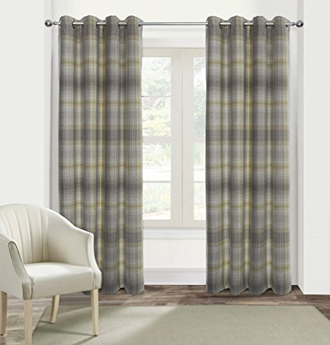 Alexandra Cole Check Plaid Textured Curtain for Bedroom Window Curtain Panels Set of 2 45x84 (Blackout Plaid Curtains)