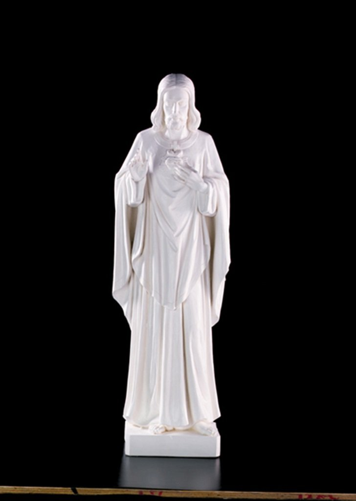The Sacred Heart of Jesus Christ White Resin Statue, 60 Inch by Avalon Gallery