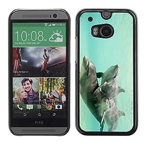 Be Good Phone Accessory // Dura Cáscara cubierta Protectora Caso Carcasa Funda de Protección para HTC One M8 // Teal Underwater Animals Couple