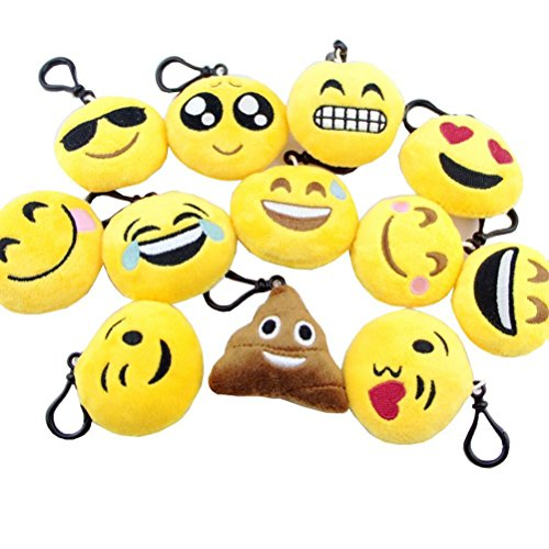 Party bag filler - Keychain with Emoticons Set of 12 - Sweet Cute fluffy Pillows & Yellow Plush - Fun for Children's Parties - Easy to install on backpacks, bags, phones and other things