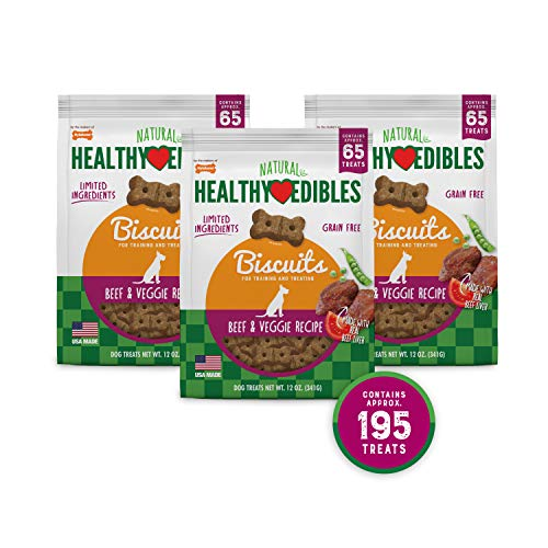 Nylabone Healthy Edibles Biscuits Beef & Veggie | 195 Ct