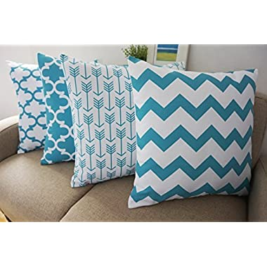 Howarmer® Canvas Cotton Aqua Blue Decorative Throw Pillows Cover Set of 4 Geometric Pattern Cushion Cover for Couch 18  X 18  Blue Trellis Chain,aqua Ogee Accent,teal Arrow,chevron Striped