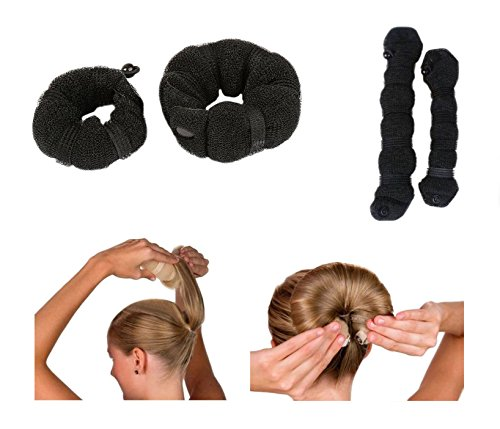 Price comparison product image iHome Fusion Beauty Magic Hair Donut Twist Ring Hair Bun Maker With Clip Button 2PCS Small & Large (Black)