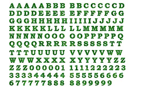 2 cm Tall BOSB Vinyl Iron-on Letters Numbers, 5PCS of Each of 26 Letters and 10 Digits for Custom Jersey, Shirts and Clothing (Green Glitter)