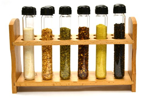 """Hand Made Test Tube Spice Rack, Wooden Rack with 12 Borosilicate Glass Test Tubes (6"""" Long, 1"""" Dia.) with Caps and Funnel"""