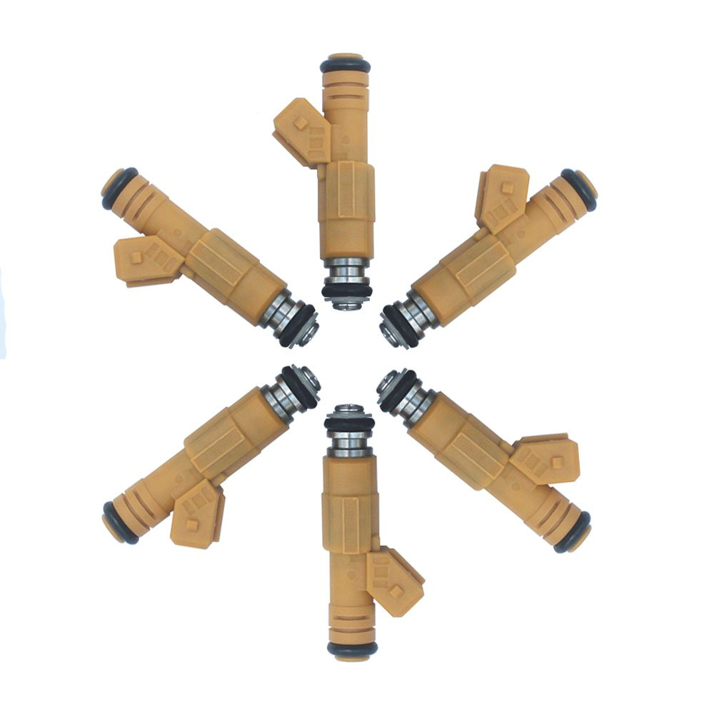 KIPA 6-Pack Flow Matched Fuel Injectors For Volvo S70 S90 V90 850 960 2.4L 2.9L 1995-1998 Jeep Cherokee Wrangler Comanche 4.0L 242Cu Replace Bosch OEM # 0280155746 0280155703 852-12162 Volvo # 9454550