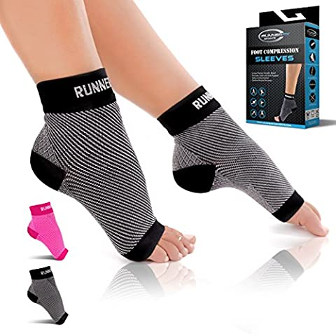 Plantar Fasciitis Socks - Runner FX Sports Men and Women's Foot Compression Sleeves - Instant Foot Pain Relief - Heel, Arch & Ankle Brace Support - BEST Foot Care for Running, Walking, Cycling, (Bad Runner)