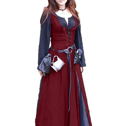 CAGYMJ Dress Party Mujer Vestido,Cosplay Medieval Retro Costuras ...