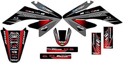 Senge Graphics Kit Compatible with Honda 2004-2010 CRF 80//100 Surge Black Graphics kit