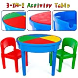 Kids 3-in-1 Multi Activity Table Set - 25 Pieces Jumbo Blocks Compatible Bricks Toy, Play Table Includes 2 Chair and Building Block Table with Storage