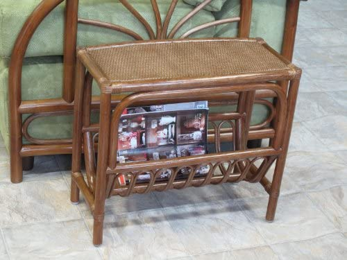urbandesignfurnishings.com Rattan Magazine End Side Table Walnut Finish