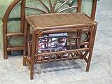 Rattan Magazine End Side Table (Walnut finish)