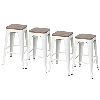 Miraculous Dekea 26 Inch Backless Bar Stools Counter Height Metal Stools With Wooden Seat Set Of 4 For Kitchen Or Indoor Outdoo Barstools White Andrewgaddart Wooden Chair Designs For Living Room Andrewgaddartcom
