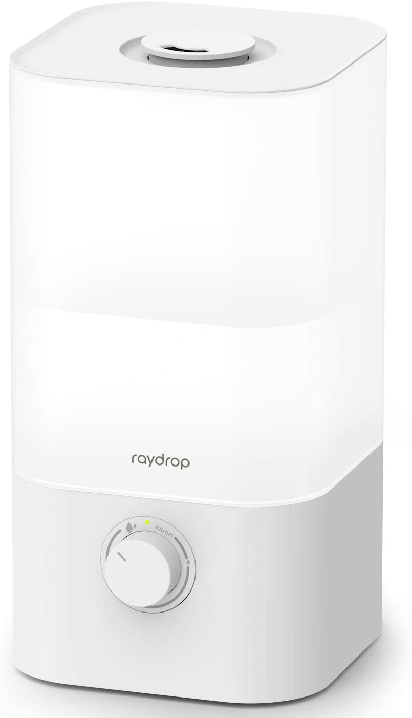 raydrop Cool Mist Humidifier Diffuser, 2.5L Essential Oil Diffuser, Top Fill Humidifier for Bedroom, Home and Office, Baby Humidifier with Adjustable Mist Output, Dial Knob, Auto Shut Off (White)