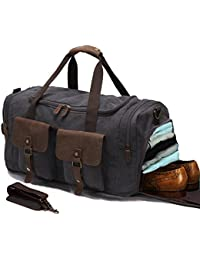 Canvas Duffle Bag Oversized Genuine Leather Trim Weekend Bags for Men and Women Unisex