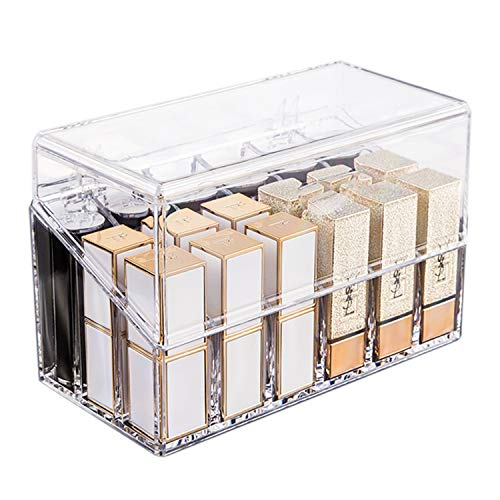 Lipstick Holder Organizer, Lipgloss Storage Box Lid 18 Space with Dustproof, Clear Makeup Display Case & Beauty Container