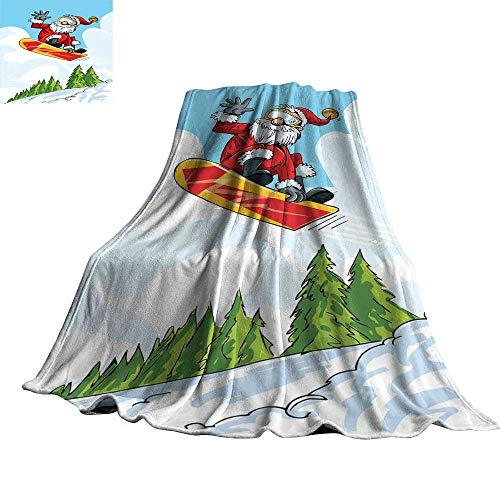 WinfreyDecor Santa Reversible Blanket Cartoon Style Santa Doing a Jump on Snowboard Snow Covered Mountains and Pine Trees 36