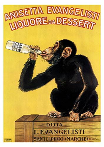 Liqueur Poster from 1930 Bar Poster Drink Poster Beer Wall Art Bar Decor Monkey Poster Monkey Drinking Poster Anisetta Evangelisti Advert (11 x 14)