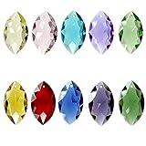Fushing 10Pcs Horse Eye Mixed Colors Crystal Beads Drops Chandelier Pendants Prisms Suncatcher Window Hanging Ornament Decoration (38mm, Multi-color)