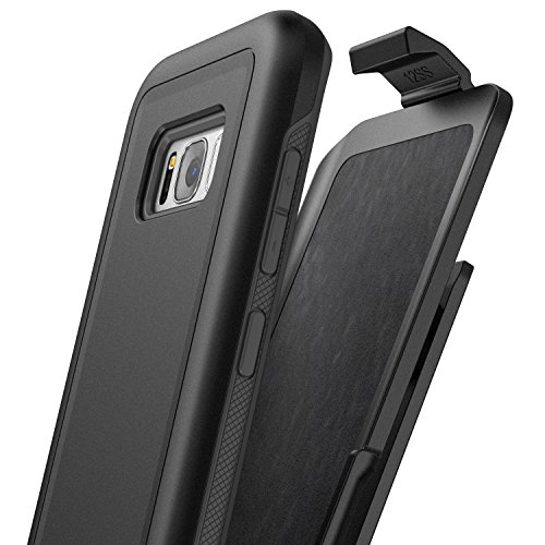 Price comparison product image Galaxy S8 Plus Belt Clip Case (S8+) REBEL Series, Heavy Duty Impact Armor w/ Secure Fit Holster - By Encased (Samsung S8+ 2017 release) (Smooth Black)