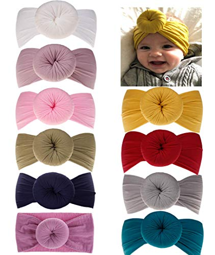 (DANMY Baby Girl Nylon Headbands Newborn Infant Toddler Hairbands and Bows Child Hair Accessories (Nylon Donut12 (10pcs)))