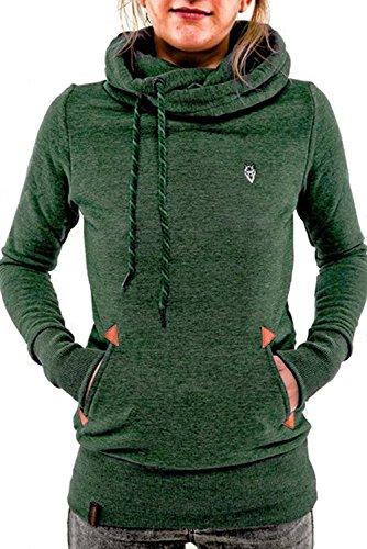 BienBien Felpa Sportive con cappuccio Donna Ragazza Maglie Manica Lunga Felpa Collo Alto Pullover Tumblr Autunno Inverno Elegante Sweatshirt Oversize Verde
