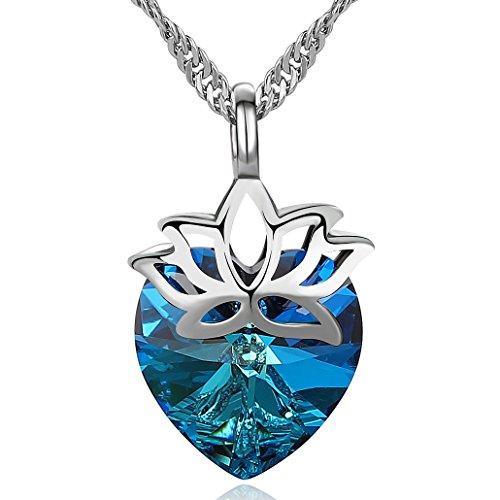 S. Wyatt Blue Love Heart Pendant Necklace - Rhinestone with Swarovski Crystal Necklace for Women & Girls Gifts