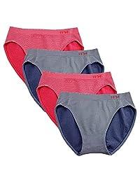 FEM Girl Seamless Underwear Soft Bikini Panties for Girls - 4 Pack