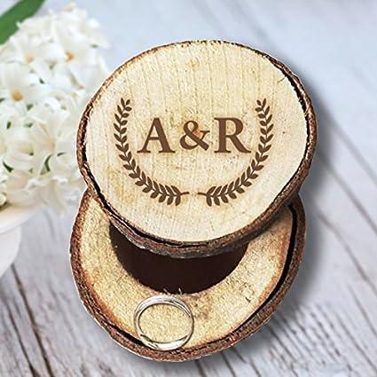Caja Anillos de Boda Personalizada Inicial Carta de Madera con Rama de olivo Regalos únicos de
