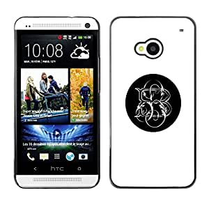 Planetar® ( Minimalist White Black Letter Initials ) HTC One M7 Fundas Cover Cubre Hard Case Cover