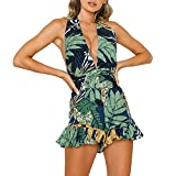 Women Backless Floral Print Short Romper Jumpsuit Sexy Deep V Neck Halter Boho Mini Dress Short Ruffle Playsuit Green