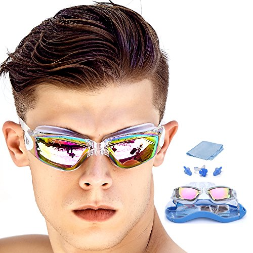 [#1 TOP RATED SWIMMING GOGGLES]Swim Goggles with FREE Protective Case, Nose Clip, Ear Plugs£¬clear swimming goggles Prescription No Leaking Anti Fog UV,for Adult Men Women Youth Kids Child by GAOGE (Prescription Youth)